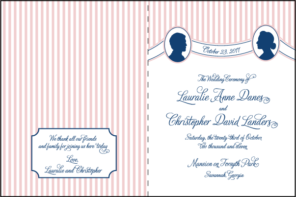 Letterpress wedding program covers