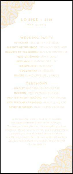 Letterpress wedding programs