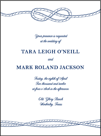 Nautical Classic Letterpress Invitation Design Medium invitation