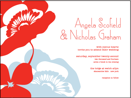 Simple Poppy Letterpress Invitation Design Medium invitation