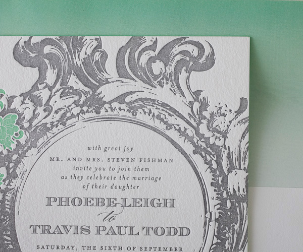Letterpress Wedding Invitations Rococo Elegance Design Bella Figura