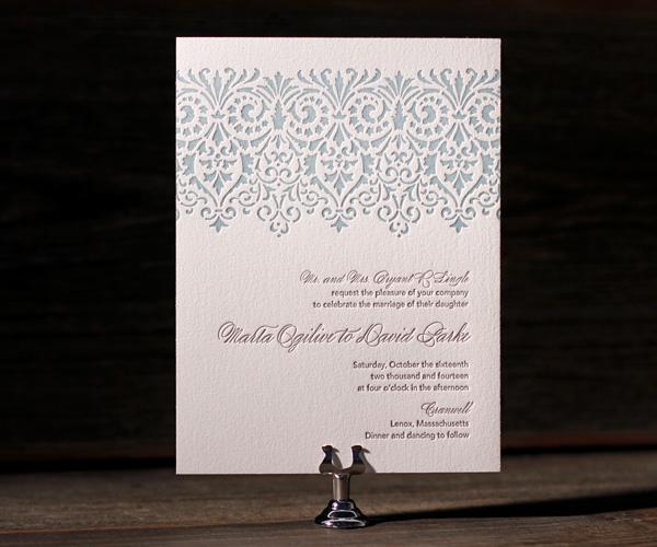 Letterpress wedding invitations Wisteria Pool Pewter