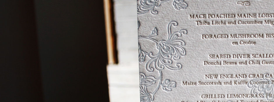 Our letterpress wedding menus can be square tall large or small