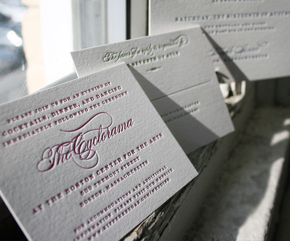 Letterpress reception cards