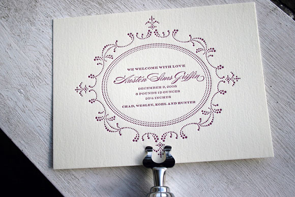 Cartoccio Letterpress Baby Announcement by Bella Figura
