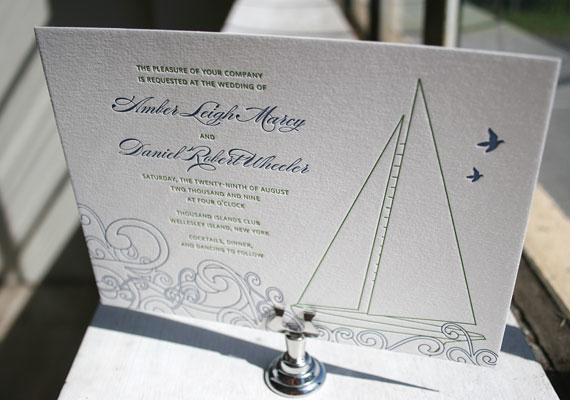 Sailboat Letterpress Invitations by Bella Figura