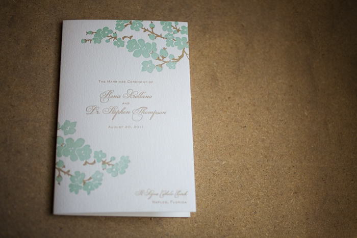 floral letterpress reception pieces