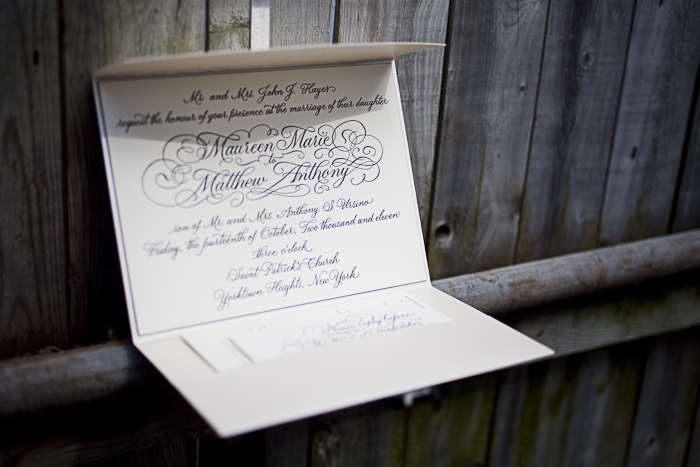 elegant calligraphy letterpress wedding invitations