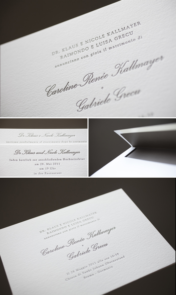 german and italian letterpress wedding invitations