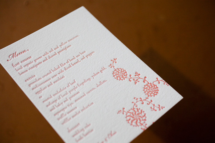 colorful letterpress wedding menus