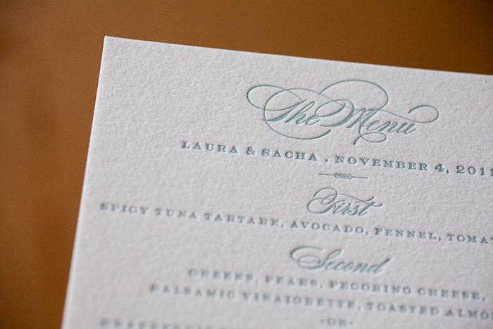 soft letterpress wedding menu