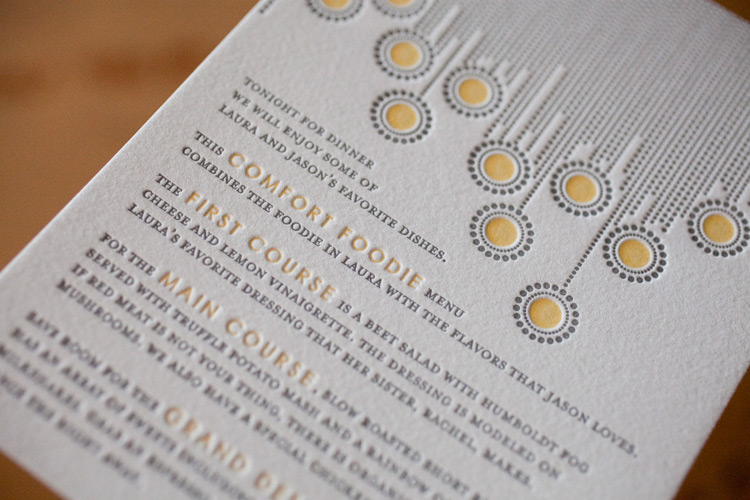 colorful and modern letterpress menus