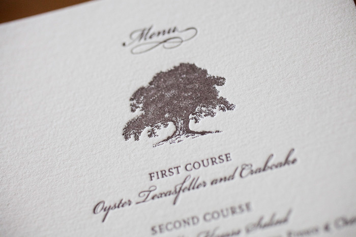 nature inspired letterpress wedding menus