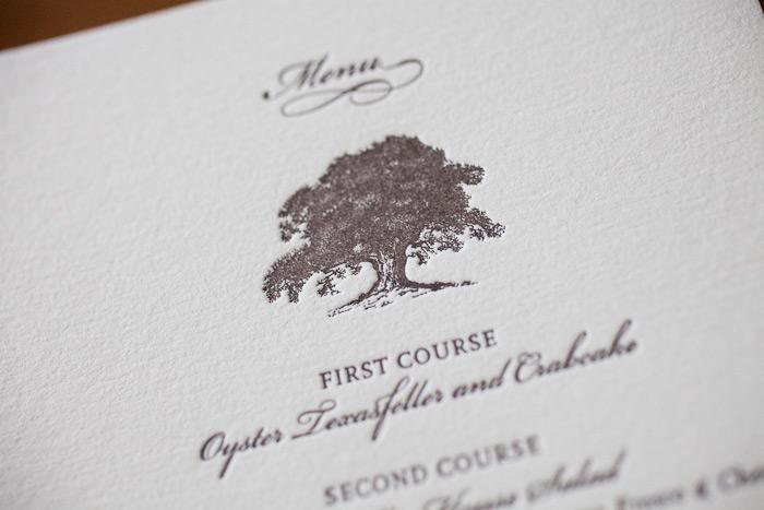 nature inspired letterpress wedding menus