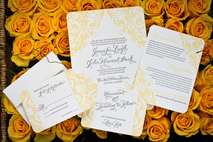 Elegant swirly wedding invitations from Bella Figura, letterpress printed in yellow & gray inks