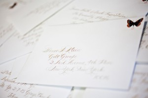 Hand calligraphed envelopes by Debi Zeinert for the 2012 national stationery show invitations