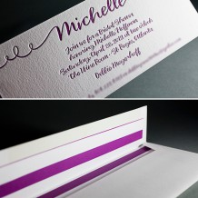 This is a letterpress customization of Bella Figura's String Calligraphy design printed in aubergine.