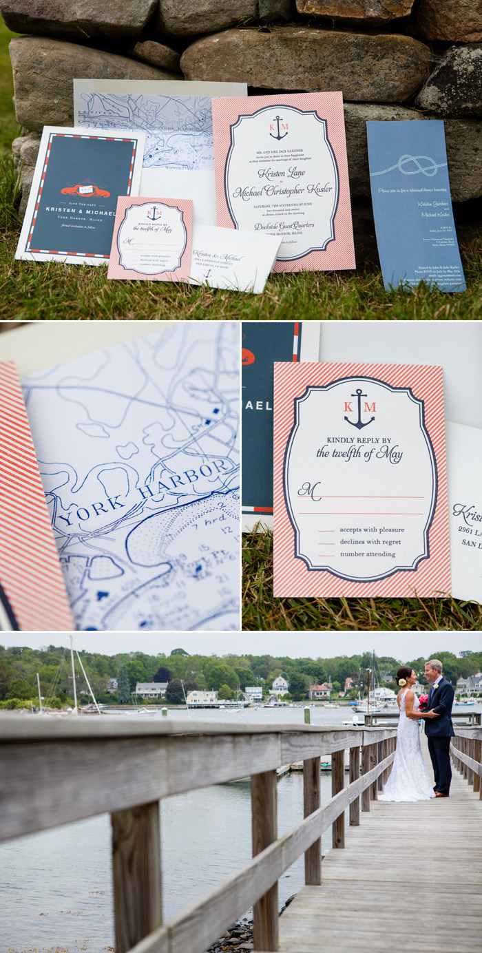 Nautical wedding invitations for a Maine wedding in June