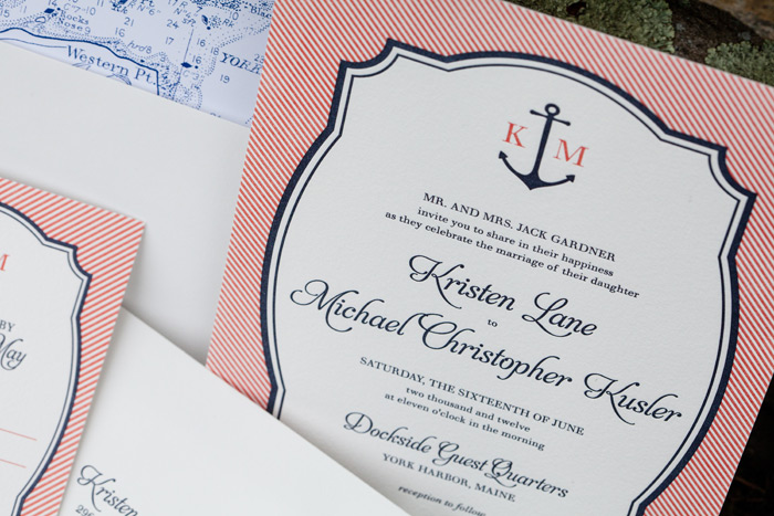 This customization of our Harbor Beach design features custom envelope liners that display a map of York Harbor,