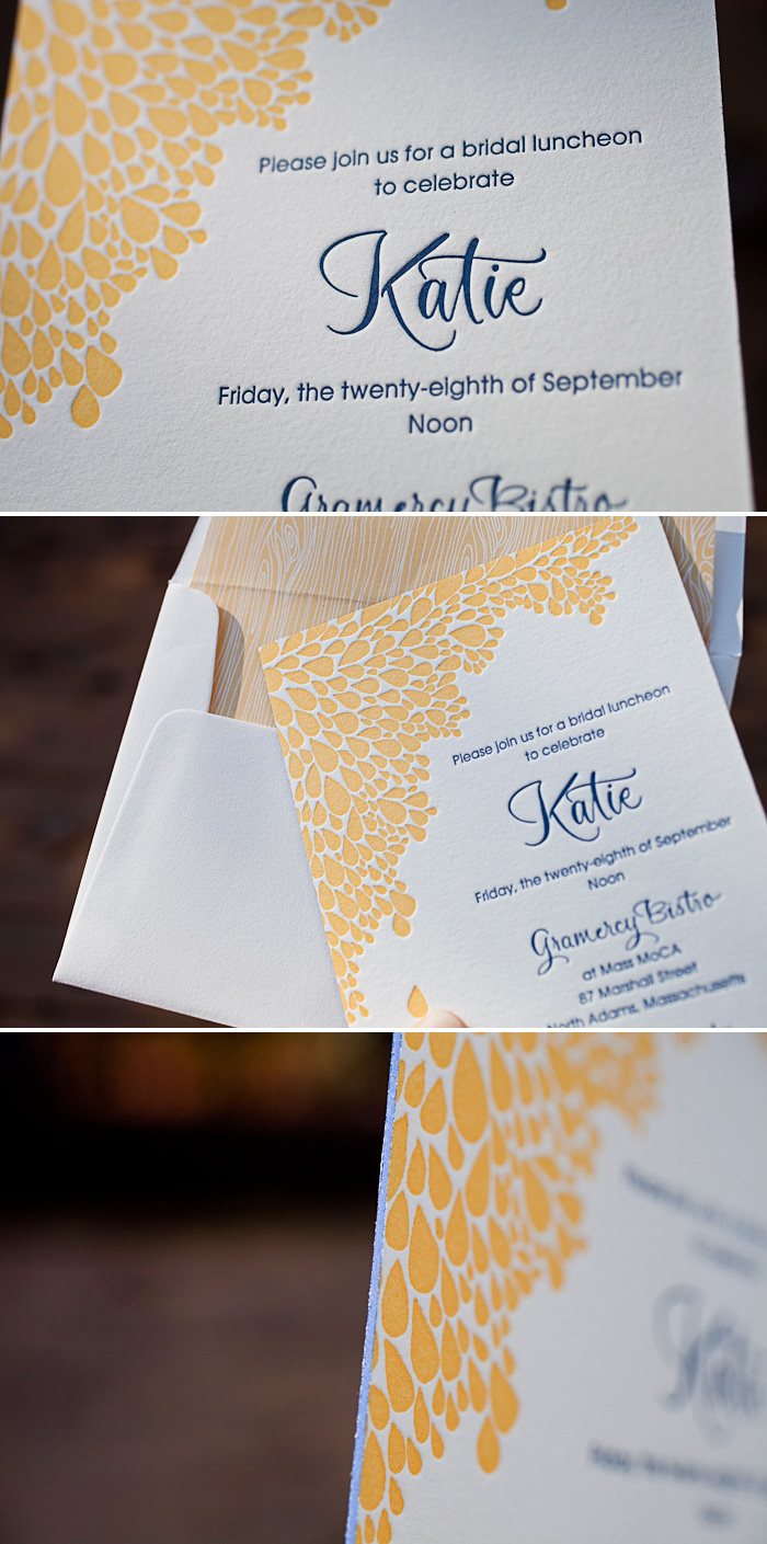 A combination of champagne and navy letterpress make our Dewdrop invitation unique.