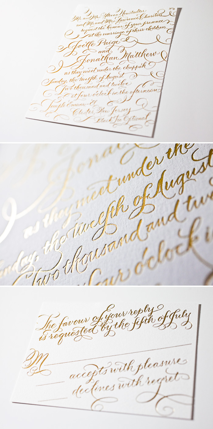 This is a customization of Bella Figura's New Calligraphy design featuring foil stamping.