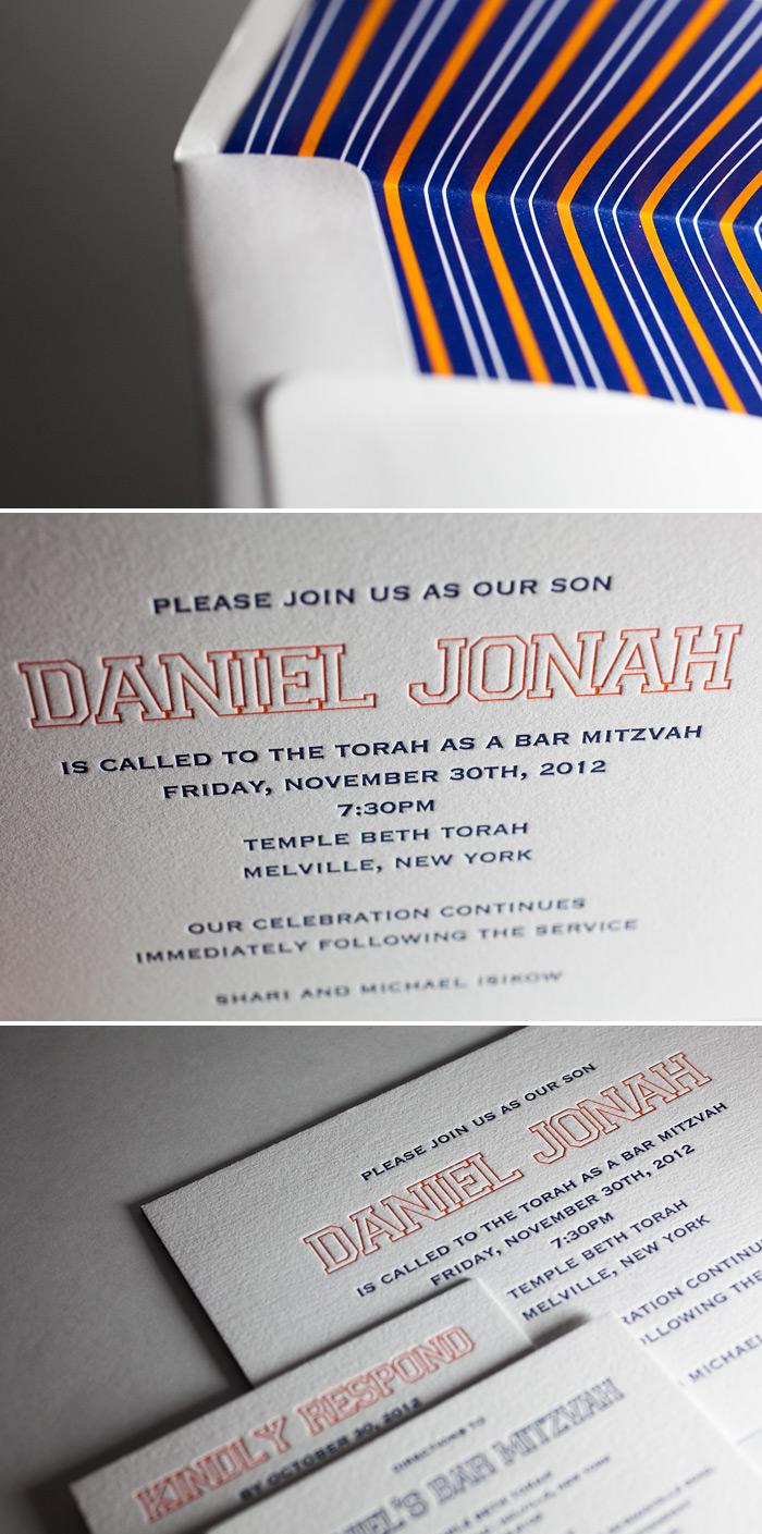 This custom Bar Mitzvah invitation is featured in custom colors