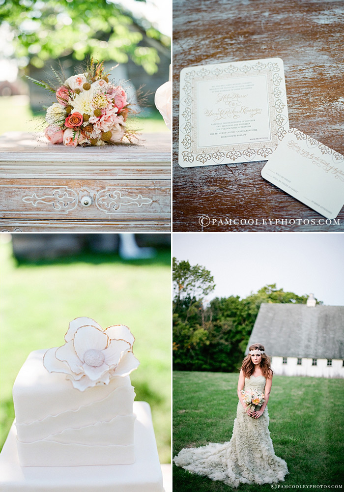 The Claddagh design pairs perfectly with romantic florals, a dainty wedding cake and a texturized gown.