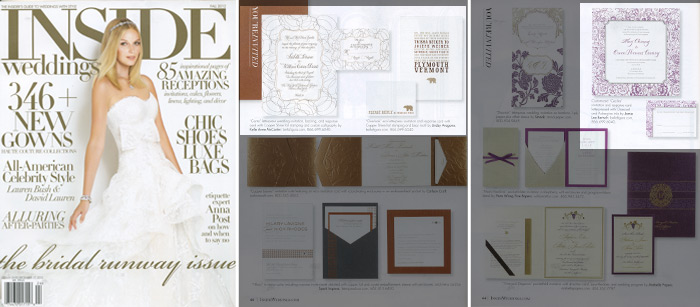 Inside Weddings featured letterpress and foil stamped invitations from Bella Figura in their Fall 2012 issue