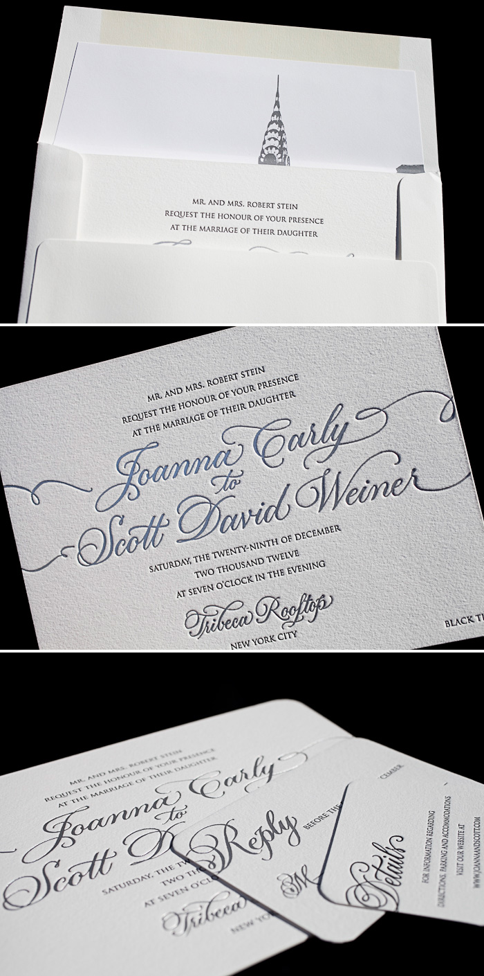 Black and silver matte foil are the perfect colors for a black tie letterpress wedding invitation