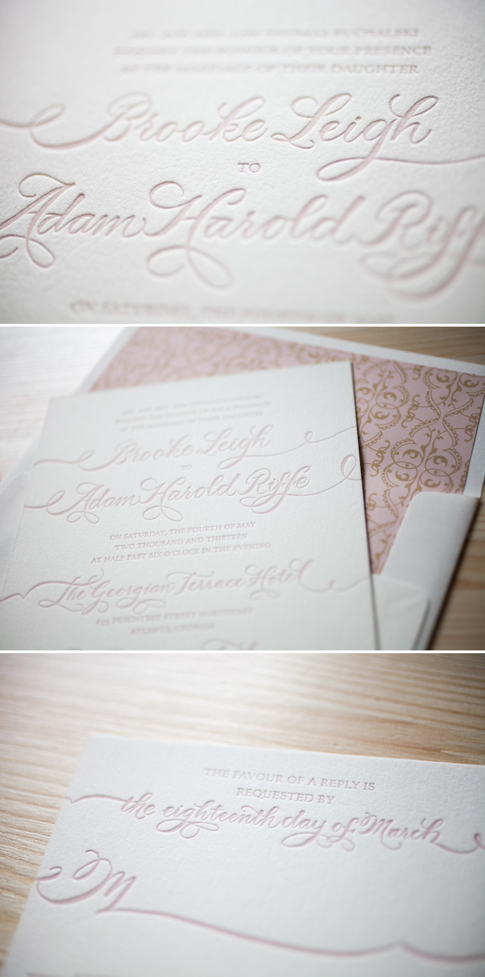 Pretty pink letterpress creates the most romantic wedding invitations