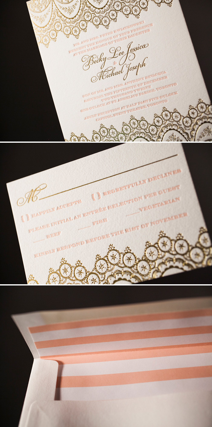 The Istanbul Lace design looks stunning with gold matte foil