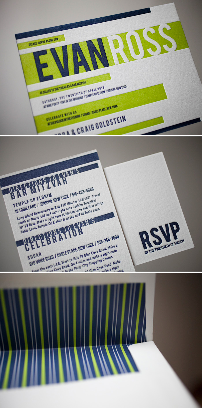 Letterpress bar mitzvah invitations in a custom blend