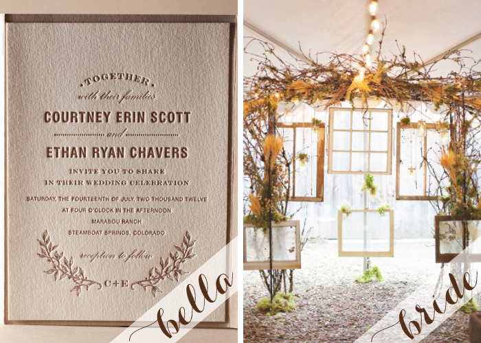 Natural wedding decor with rustic letterpress wedding invitations