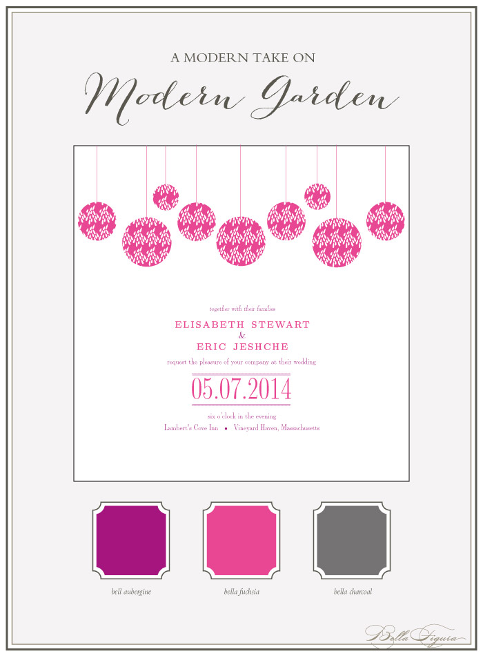 Bella Figura's Modern Garden invitation suite is on sale for 10% off during the month of April