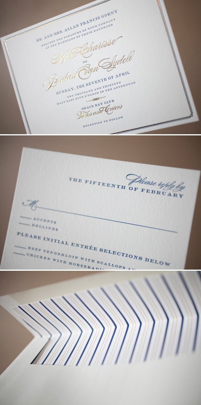 Wedding invitations in navy and gold inks