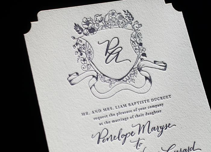 Laurent, one of Bella Figura's 60 new wedding invitation designs featuring letterpress printing + a brand new hand calligraphy style