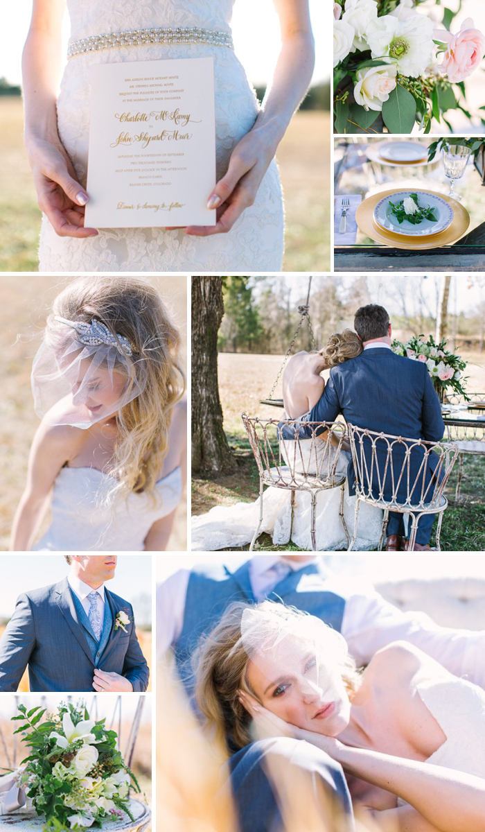 Vintage wedding inspiration shoot from Lindsay Vallas photography featuring a custom Bella Figura invitation