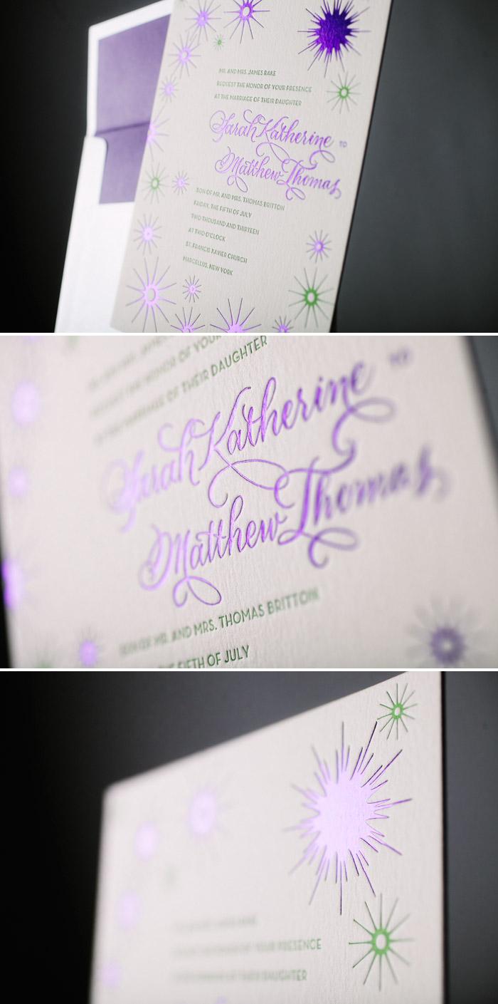 Purple Shine foil stamped wedding invitations