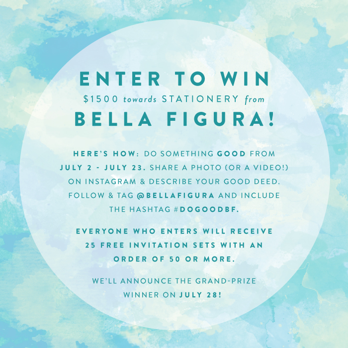 Enter to win $1500 in stationery from Bella Figura! Everyone who enters gets 25 free invitation sets with an order of 50 or more