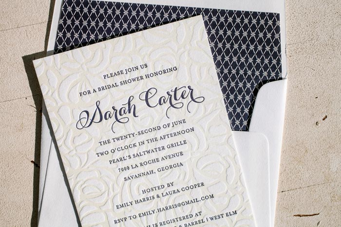 Rose letterpress bridal shower invitations from Bella Figura
