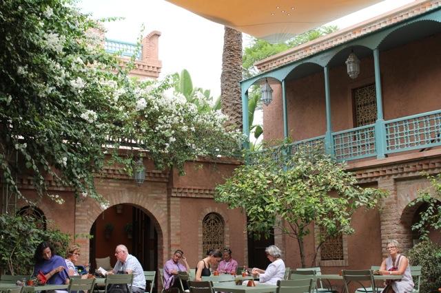 Cafe inside the gardens of Yves Saint Laurent