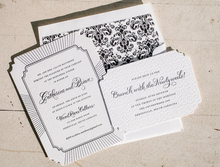 Letterpress rehearsal dinner invitations from Bella Figura