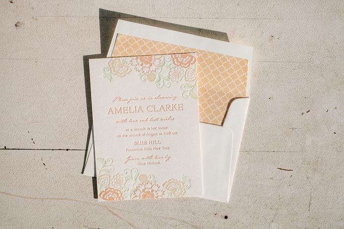 Coriander letterpress bridal shower invitations