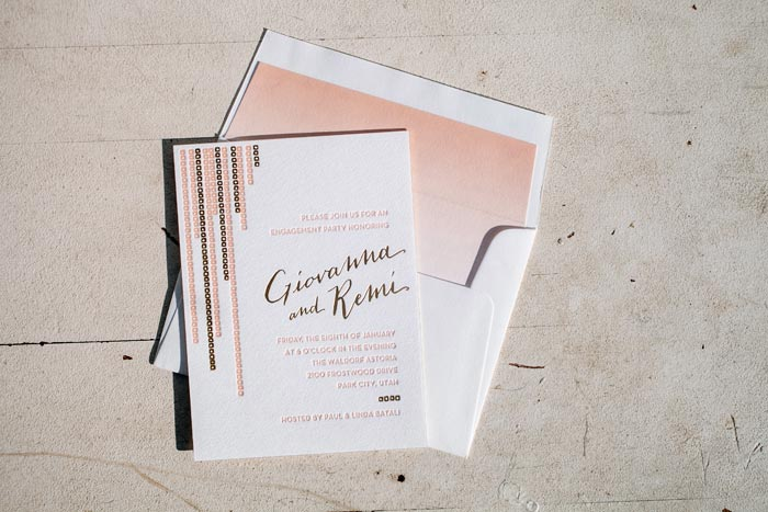 Foil stamped + letterpress printed engagement party invitations from Bella Figura