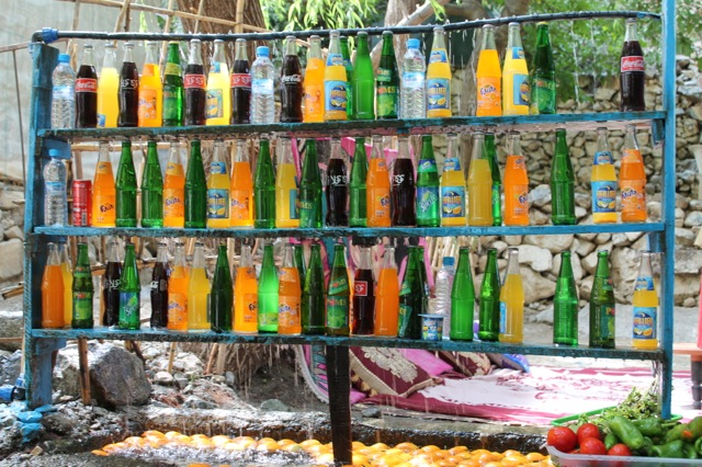 Natural fridge in Marrakech, Morocco - the waterfall pours cold water over the bottles to keep everything cool