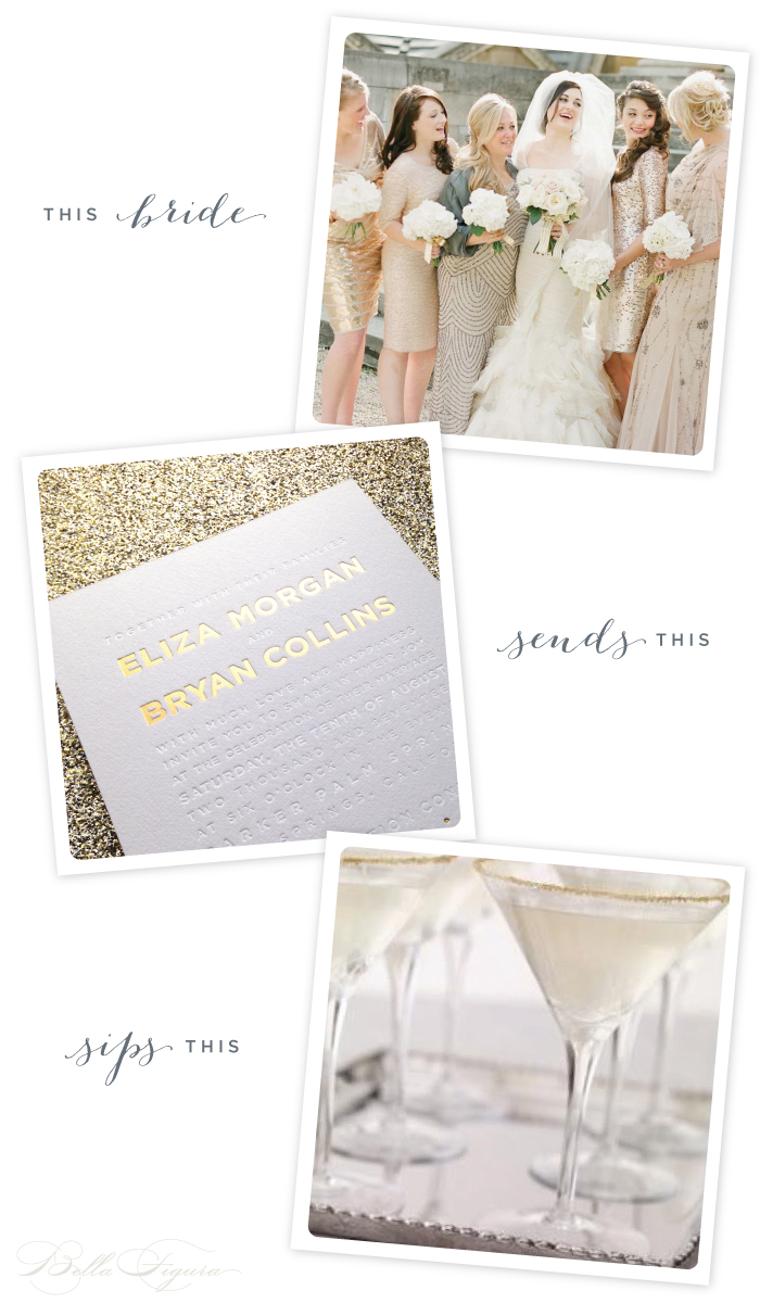 A modern golden wedding calls for the super-chic Parker wedding invitation from Bella Figura