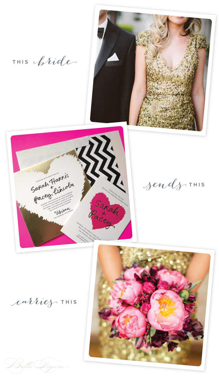 Glamorous gold Urbanic wedding invitations from Bella Figura