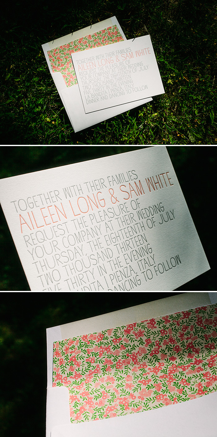 Letterpress wedding invitations | Bella Figura