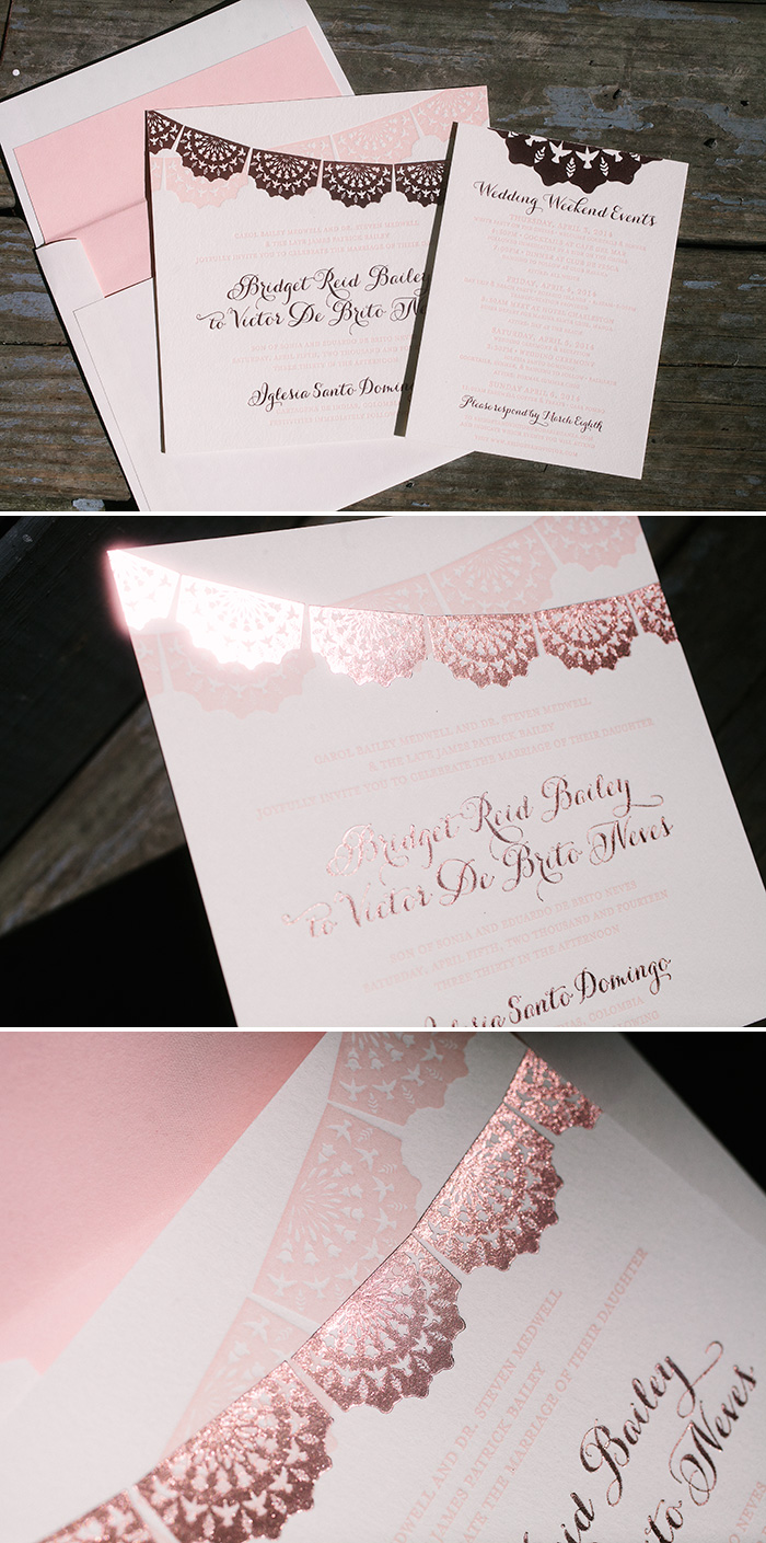 papel picado inspired letterpress wedding invitations | Bella Figura
