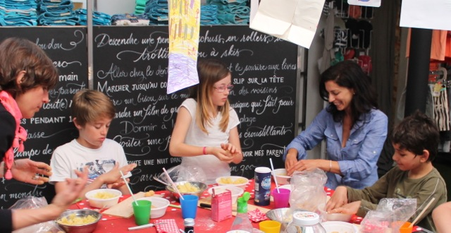 Sarah Hanna at the children's cooking school in 'La tête à toto' boutique in Cassis, France